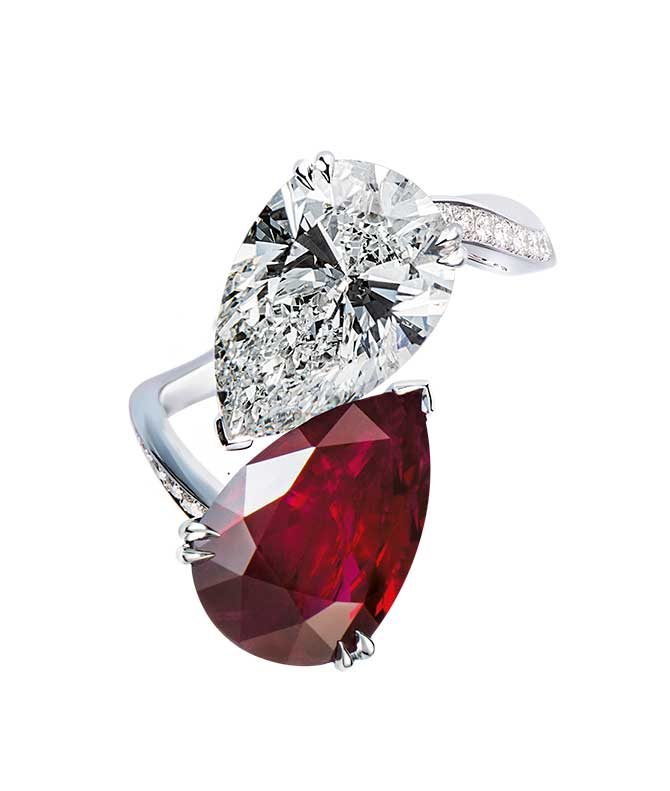 Gilan Burma ruby and diamond ring