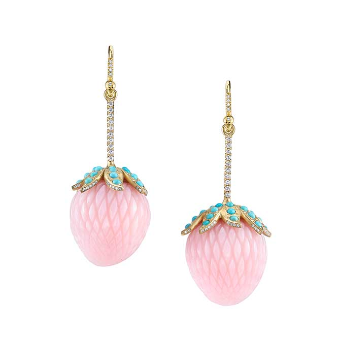 Irene Neuwirth Strawberry Pink Opal earrings
