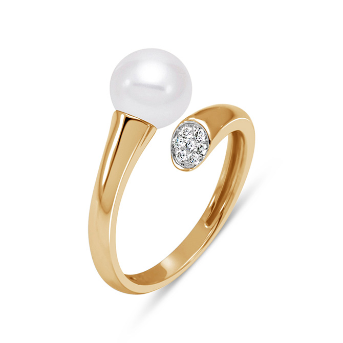 Mastoloni Gold and Pearl Bypass Ring