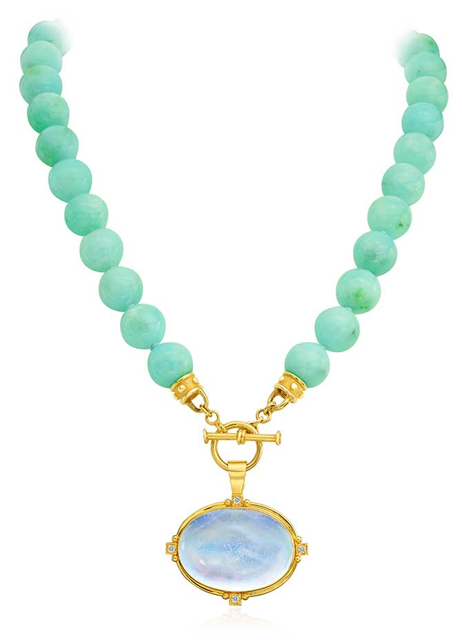 Mazza chrysoprase beads with pendant