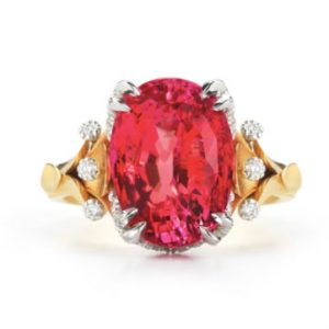 McTeigue & McClelland Classic Flora padparadscha sapphire ring in 18k bloomed gold and platinum