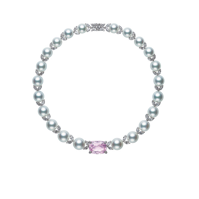 Mikimoto 125 Years Pearl necklace with pink sapphire