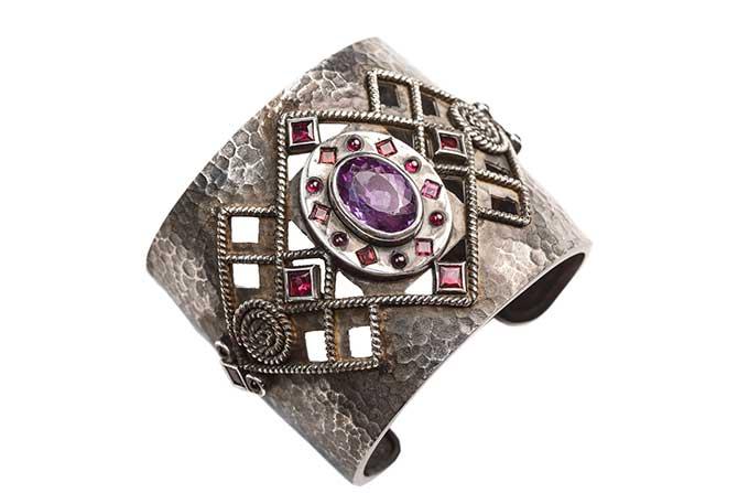 Millapani Mari amethyst garnet silver cuff