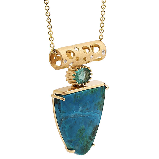 Dana Bronfman Earth Treasure chrysocolla pendant