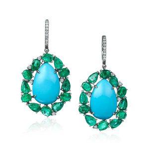 Nina Runsdorf emerald and turquoise earrings