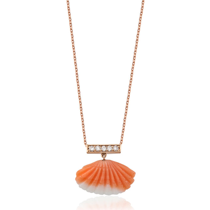 Crysellas coral shell necklace