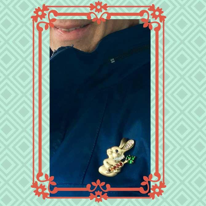 Remy Rotenier wearing rabbit brooch