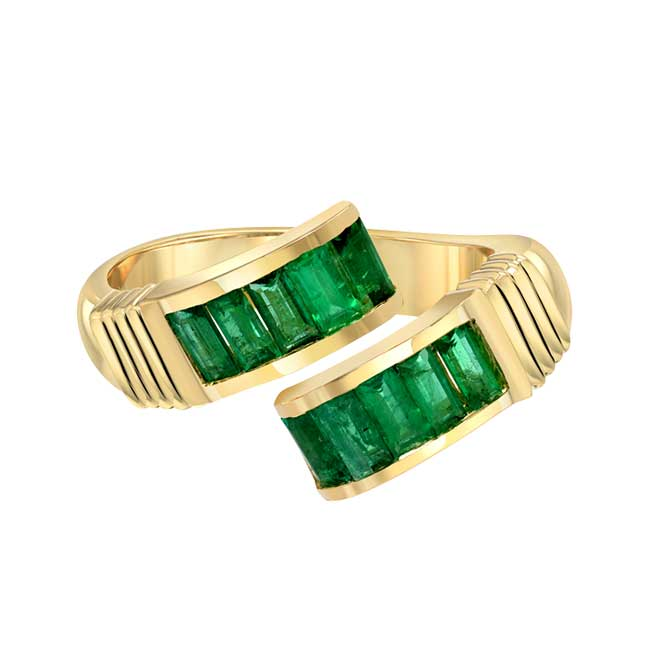 Retrouvai Buckle Emerald Ring