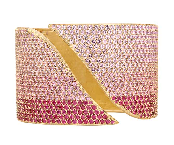 Sandy Leong Ombre pink sapphire and ruby cuff