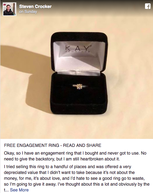 Facebook man gives away ring post