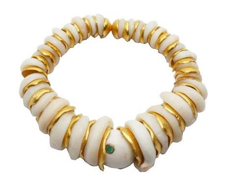 Vanessa Monteil golden puka bracelet