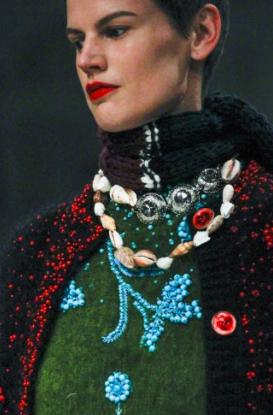 Prada fall 2017 runway show shell necklaces