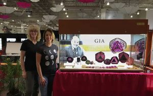 Zoning in on Liddicoatite case at the TGMS 2018 show designed by GIA curator Terri Ottaway and manager of museum exhibits McKenzie Santimer