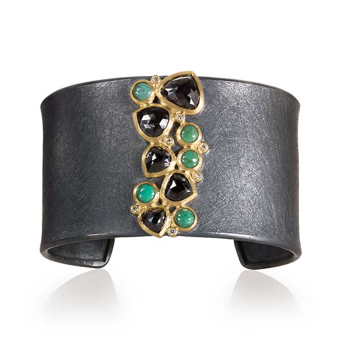 Todd Reed silver and black diamond and turquoise cuff