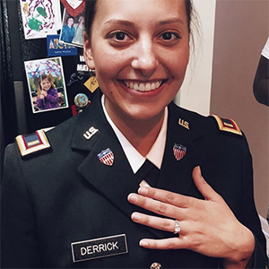 army second lieutenant wearing moissanite ring