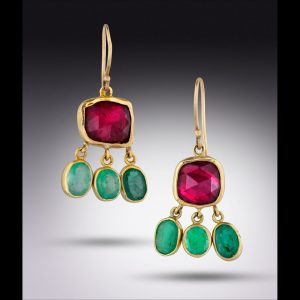 Rubellite emerald 18k earrings