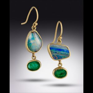 Lori Kaplan emerald and opal earrings in 18K gold