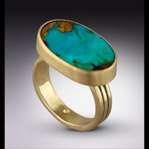 Lori Kaplan ring in 18k gold and Persian turquoise