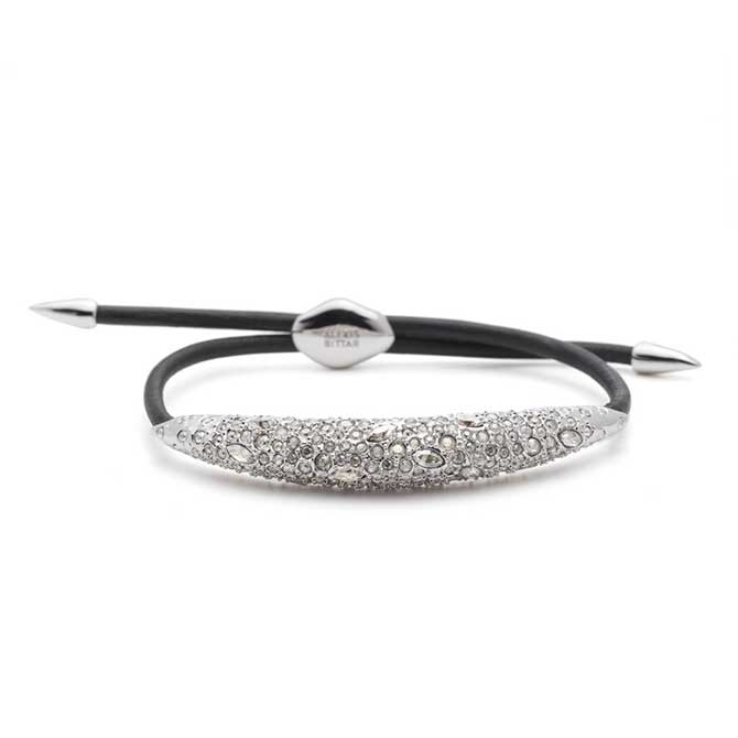 Alexis Bittar Leather and Crystal Accent Bracelet