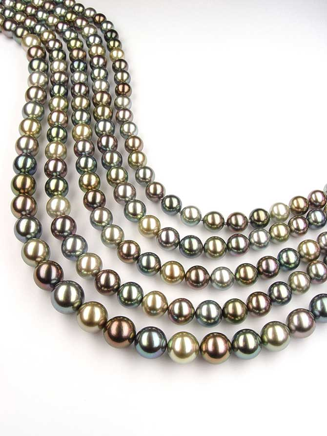 Baggins Multi Color Tahitian Pearl Multistrand Necklace