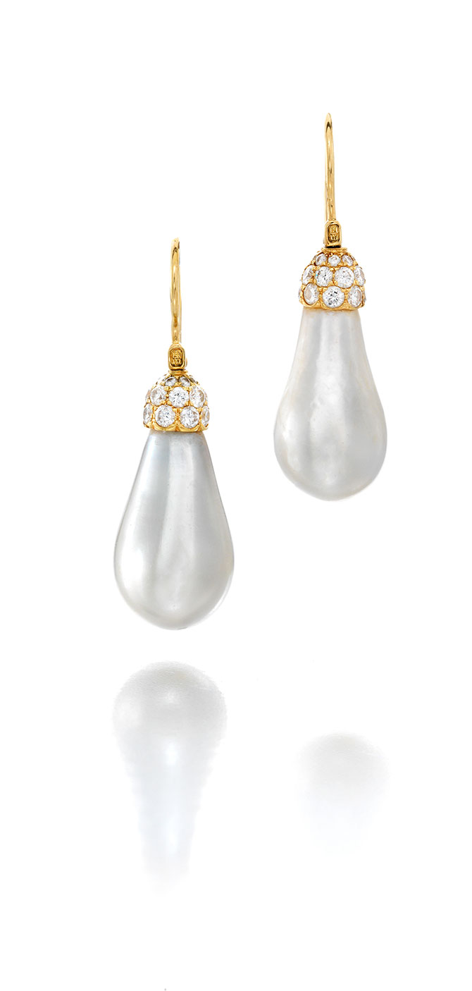 Bonhams New York Sale April 17 Harry Winston Natural Pearl Ear Pendants Lot 86