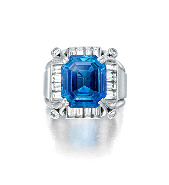 Bonhams New York Sale April 17 Kashmir Sapphire Ring Lot 124