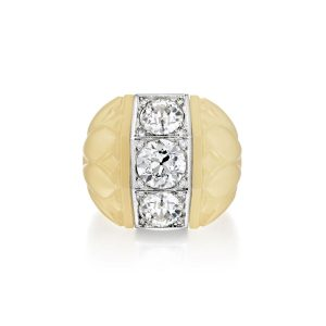 Suzanne Belperron three diamond chalcedony ring