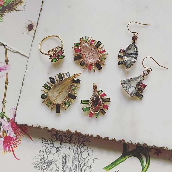 Eva Earrings Pendants and Ring