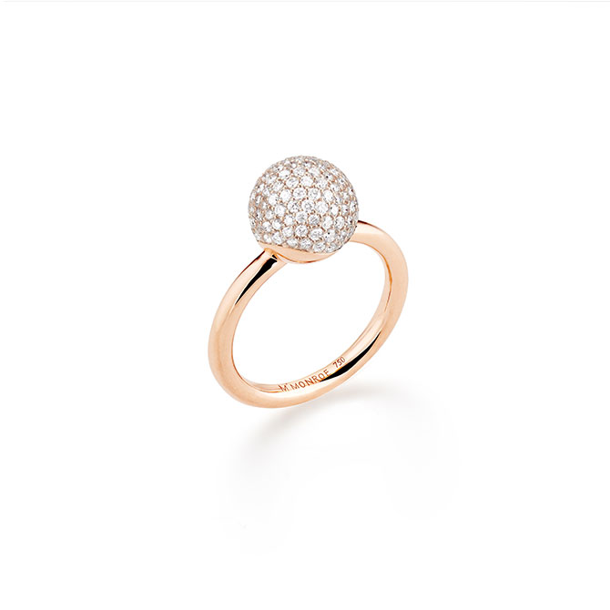M Monroe Aura small pave sphere ring