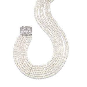 Mastoloni Art Deco Multistrand Pearl Collar