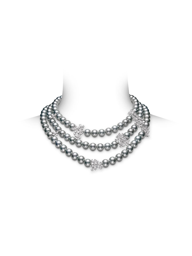 Mikimoto Triple Strand Pearl and Diamond Necklace