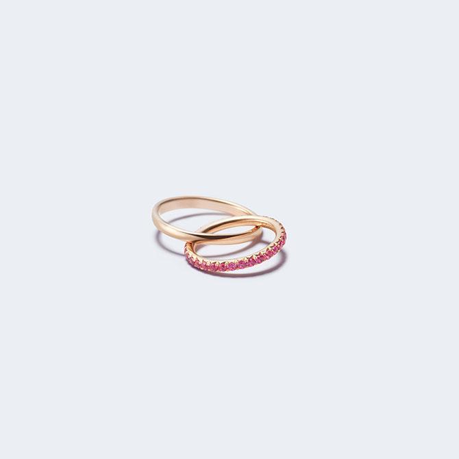 Sandrine de Laage pink sapphire Boyfriend ring