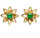 Lotus emerald studs