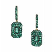 Pave emerald baguette earrings