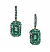Pave emerald baguette earrings
