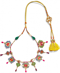 Necklace with gold pendants