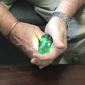 Simon Watt with Ethiopian emerald crystal