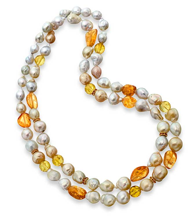 The Mazza Company Multistrand Pearl and Citrine Necklace