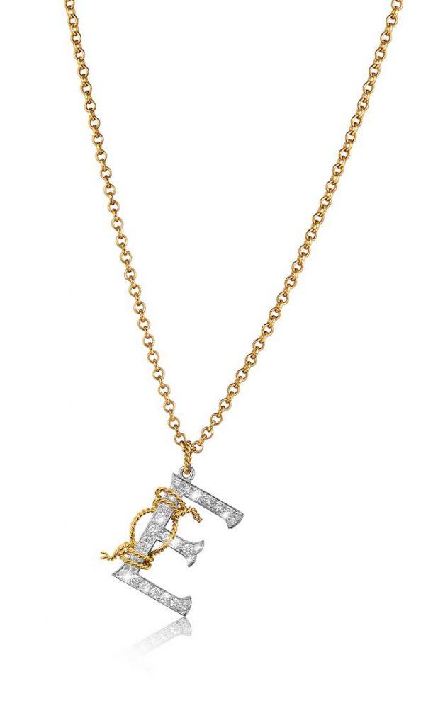 Verdura Diamond Initial Pendant Necklace
