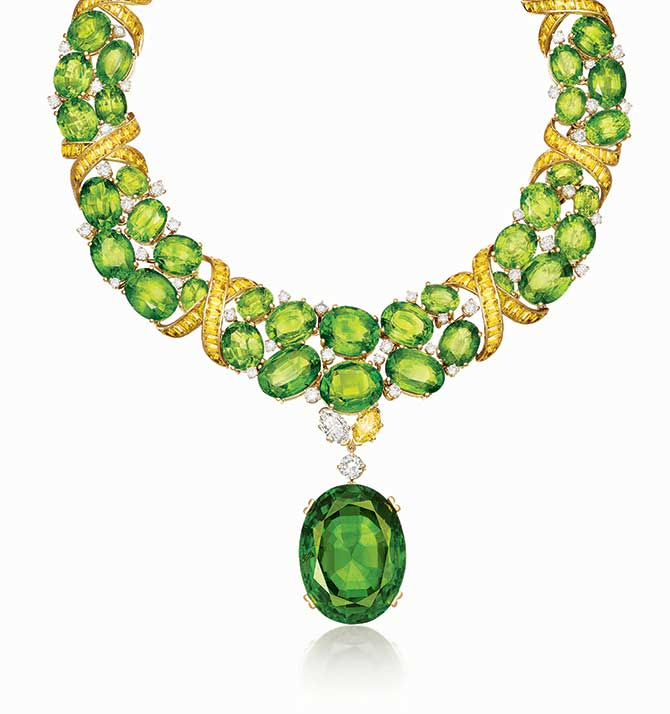 Verdura X Necklace With Peridots and Yellow Sapphires