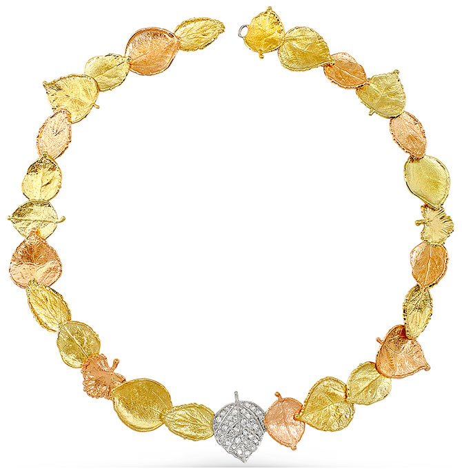 aaron henry gold leaf necklace