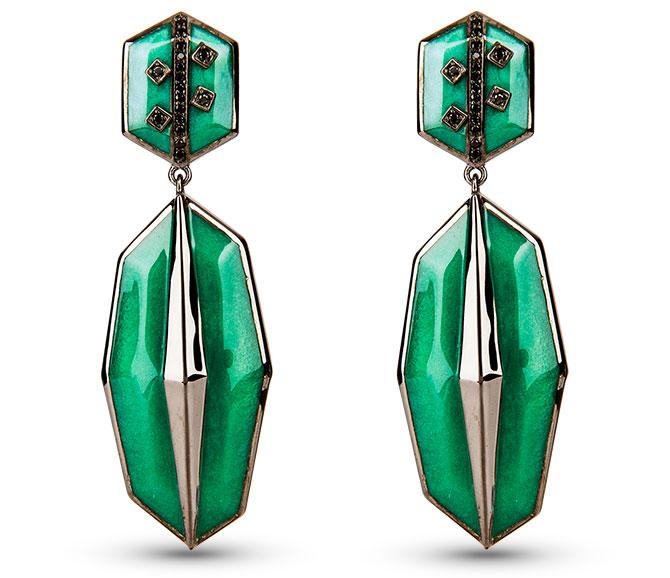 cristina sabatini green earrings