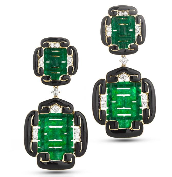 david webb carved jade scroll earrings