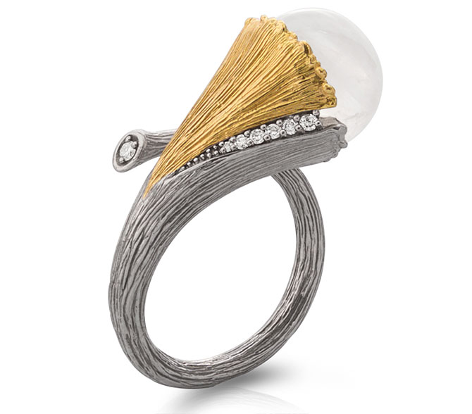 michael aram gingko silver ring with moonstone