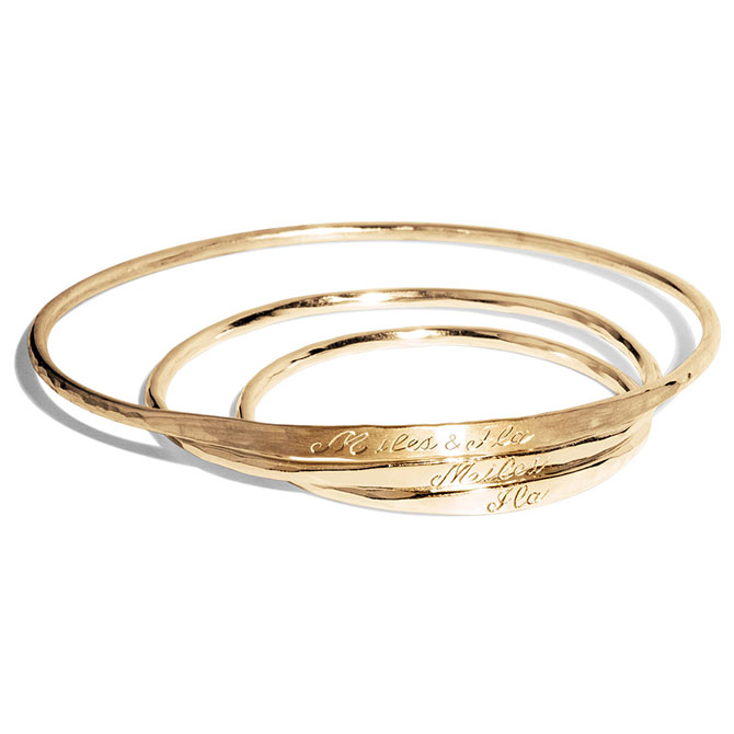 Bario Neal Baby Bangles in 14k gold