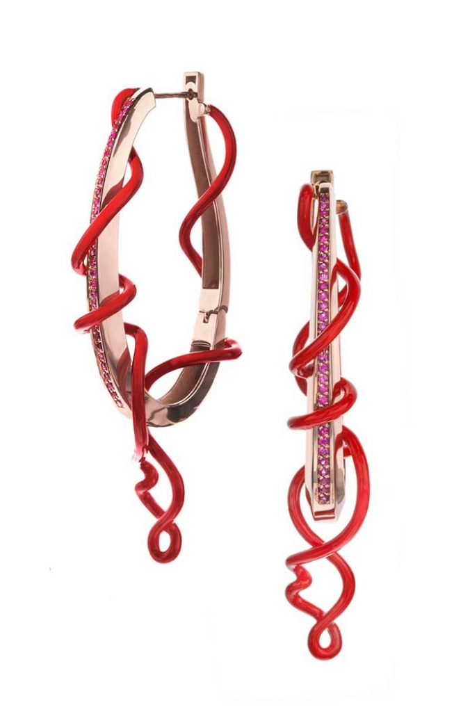 Bea Bongiasca Red Enamel Sapphire hoops