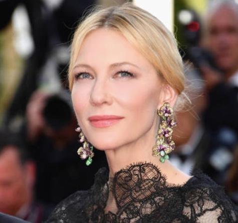 Cate Blanchett Chopard Orchid earrings Cannes