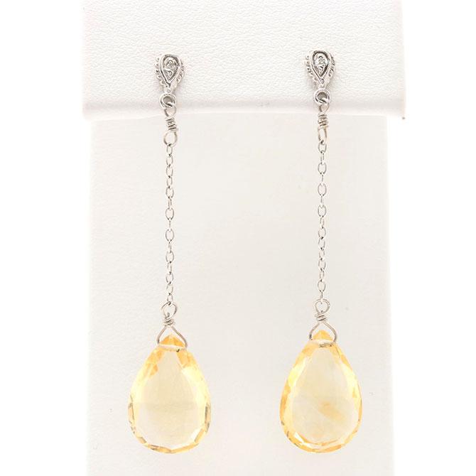 Citrine and diamond drop earrings