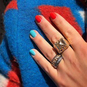 Dana Bronfman red and blue mani