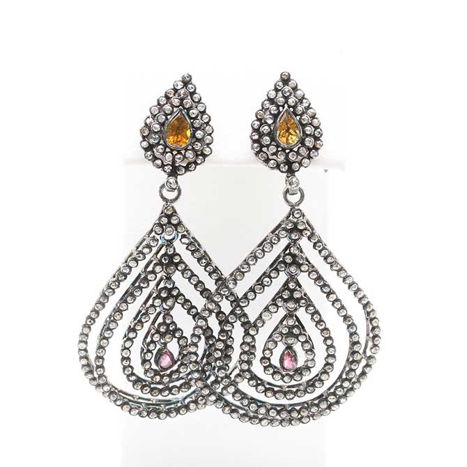 Diamond earrings with citrine and pink tourmaline